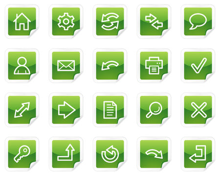 Basic web icons, green sticker series Vector