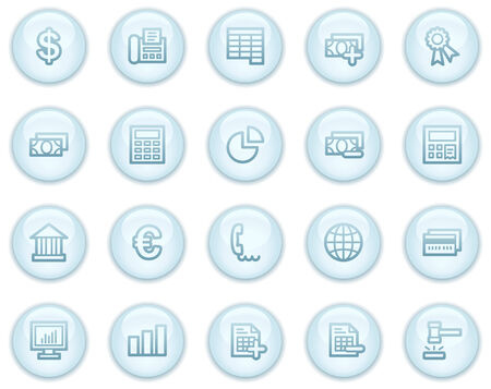 Banking web icons, light blue circle buttons series Vector