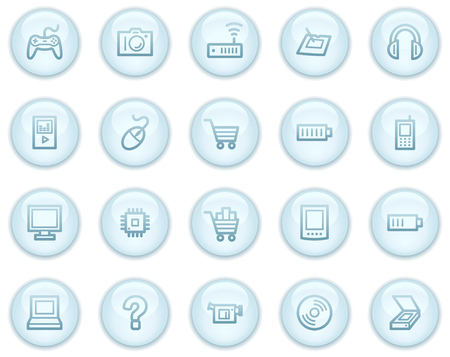 Electronics  web icons, light blue circle buttons series Stock Vector - 4685240