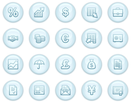 Finance web icons, light blue circle buttons series Vector