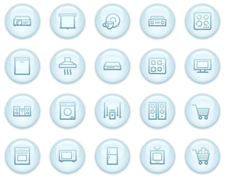 Home appliances web icons, light blue circle buttons series Stock Vector - 4685241