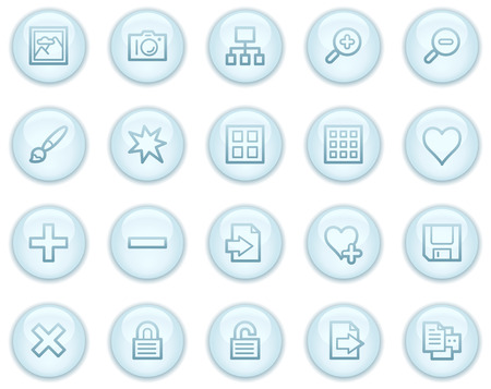 Image library web icons, light blue circle buttons series Stock Vector - 4685237