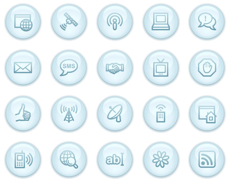 Internet communication web icons, light blue circle buttons series Stock Vector - 4685246