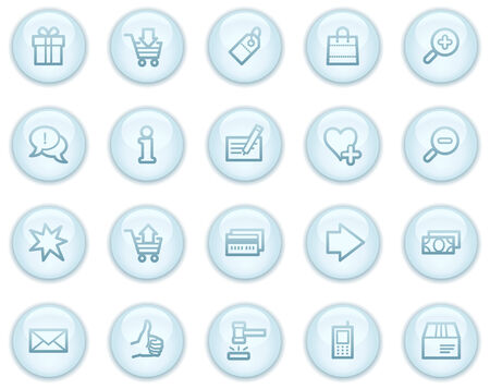 Shopping web icons, light blue circle buttons series Vector