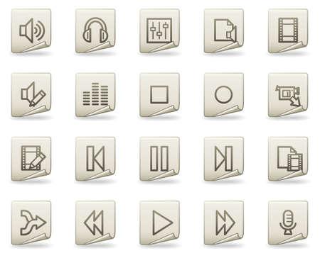 Audio video edit vector web icons, document series Stock Vector - 4739811