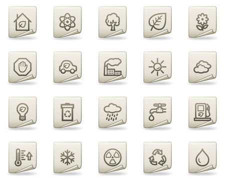Ecology web icons, document series Vector