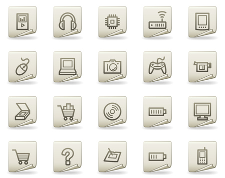 Electronics web icons, document series Vector