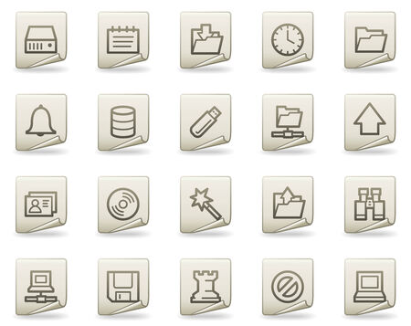 Server web icons, document series Vector