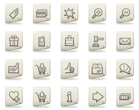Shopping web icons, document series Vector