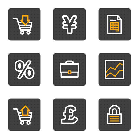 Business web icons, grey buttons series Vector