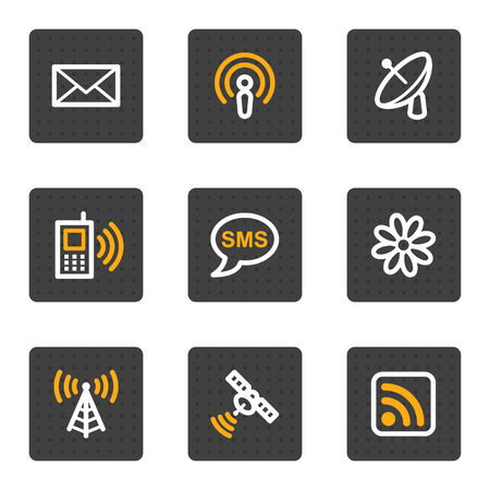 wifi access: Communicaton web icons, grey buttons series