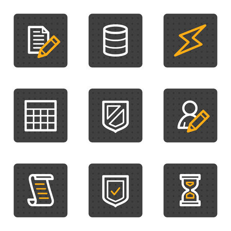 Database web icons, grey buttons series Stock Vector - 4813415