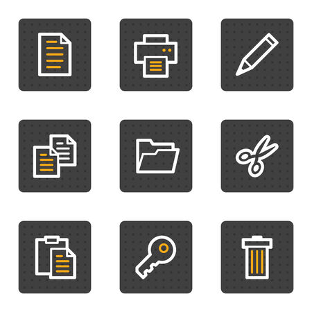 Document web icons, grey buttons series Vector