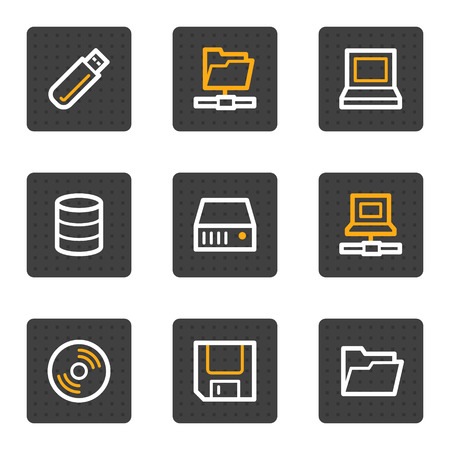 Drives and storage web icons, grey buttons series Stock Vector - 4813410