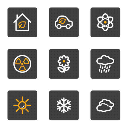 Ecology web icons set 2, grey buttons series Vector