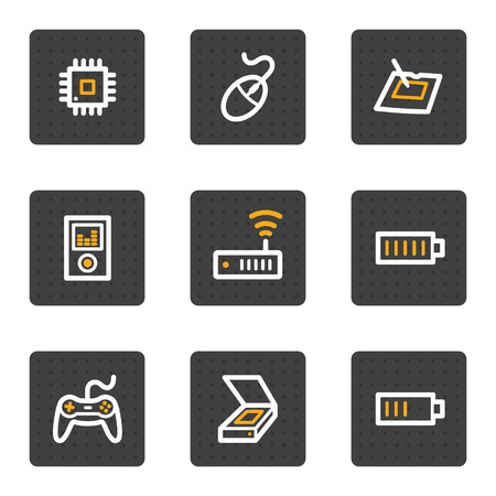 Electronics web icons set 2, grey buttons series Stock Vector - 5086941