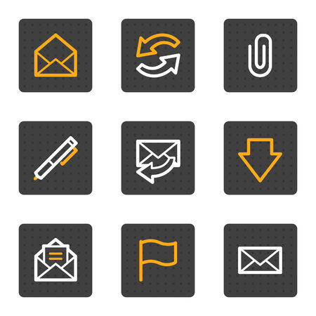 E-mail web icons, grey buttons series Vector
