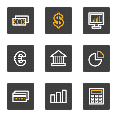 Finance web icons, grey buttons series Vector