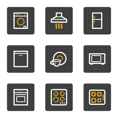Home appliances web icons, grey buttons series Vector