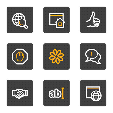 Internet web icons, grey buttons series Illustration