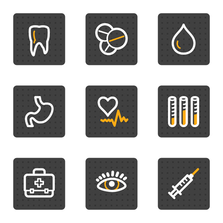 oculist: Medicine web icons, grey buttons series