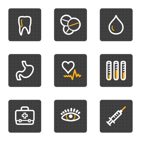 Medicine web icons, grey buttons series Vector