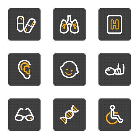 Medicine web icons set 2, grey buttons series Vector