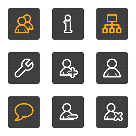 Users web icons, grey buttons series Vector