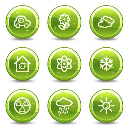 Ecology web icons set 2, green glossy circle buttons series Stock Vector - 4833518