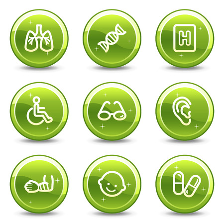 Medicine web icons set 2, green glossy circle buttons series Vector