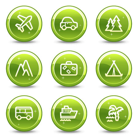 Travel and transport web icons set 1, green glossy circle buttons series Vector