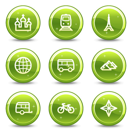 Travel and transport web icons set 2, green glossy circle buttons series Vector