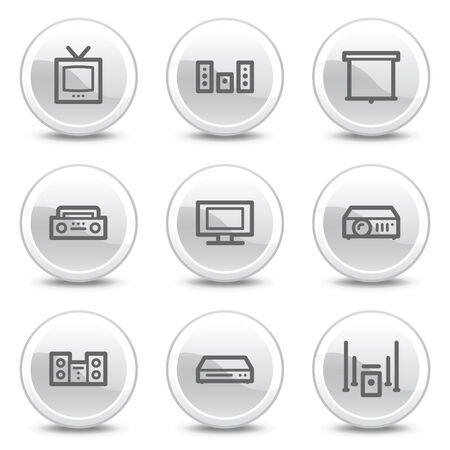 woofer: Audio video web icons, white glossy circle buttons series