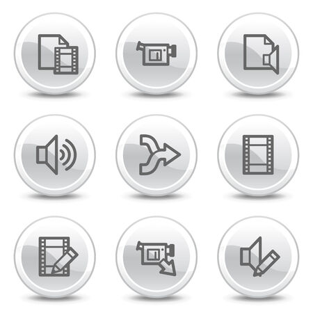 Audio video edit web icons, white glossy circle buttons series Vector