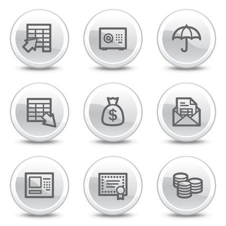 Banking web icons, white glossy circle buttons series Vector