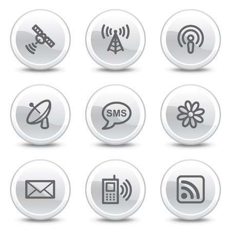 access point: Communication web icons, white glossy circle buttons series