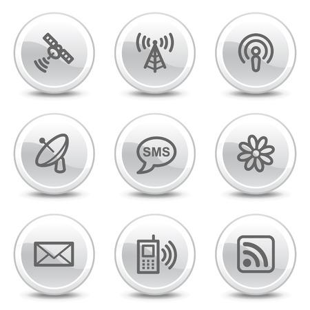 wifi access: Comunicazione Web icone, pulsanti cerchio bianco lucido serie Vettoriali