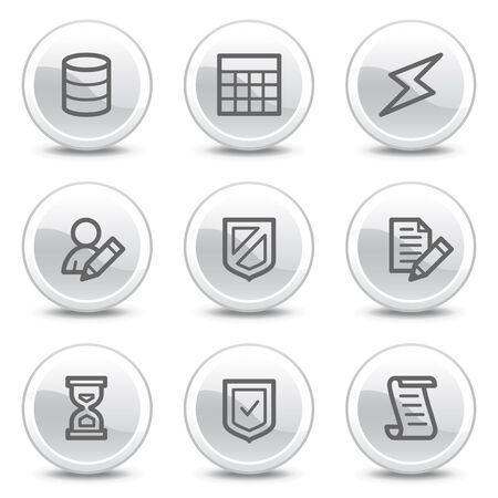 Database web icons, white glossy circle buttons series Vector