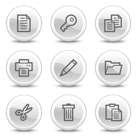Document web icons, white glossy circle buttons series Vector