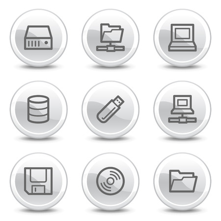 fdd: Drives and storage web icons, white glossy circle buttons series Illustration