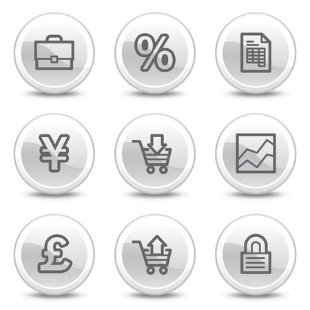 E-business web icons, white glossy circle buttons series Vector