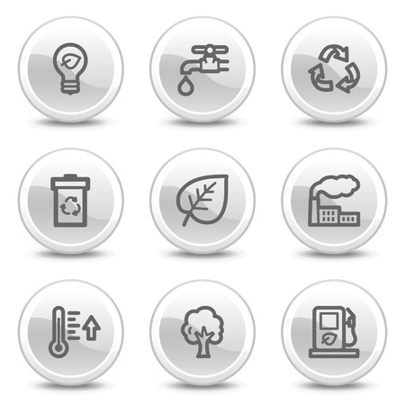 Ecology web icons, white glossy circle buttons series Vector