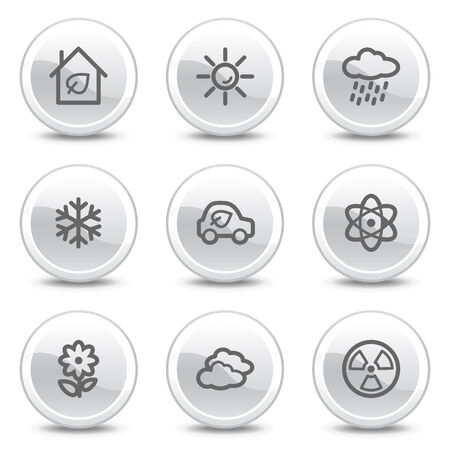 Ecology web icons set 2, white glossy circle buttons series Vector