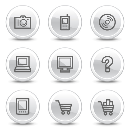 Electronics web icons, white glossy circle buttons series Stock Vector - 4852972