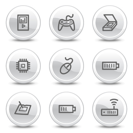 Electronics web icons set 2, white glossy circle buttons series Vector