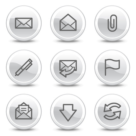 webmail: E-mail web icons, white glossy circle buttons series Illustration