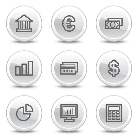 Finance web icons, white glossy circle buttons series Vector
