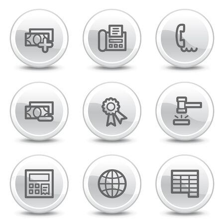 Finance web icons set 2, white glossy circle buttons series Vector
