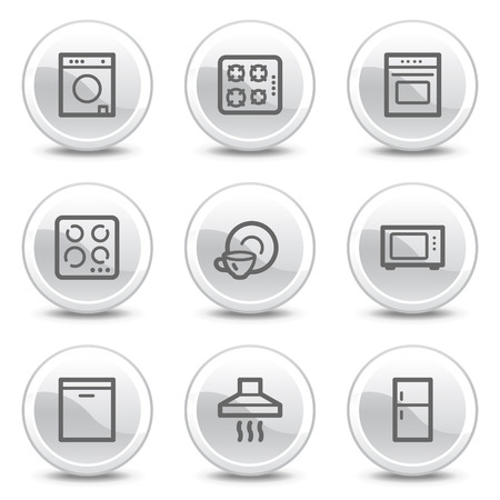 Home appliances web icons, white glossy circle buttons series Vector
