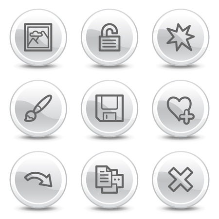 and viewer: Image viewer web icons set 2, white glossy circle buttons series